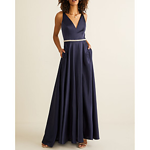 cheap Bridesmaid Dresses-A-Line V Neck Floor Length Polyester Bridesmaid Dress with Sash / Ribbon / Pleats / Open Back