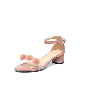 cheap Women's Sandals-Women's Sandals Chunky Heel Open Toe Buckle / Pom-pom Suede Classic / Minimalism Spring & Summer Almond / Pink / Black / Party & Evening