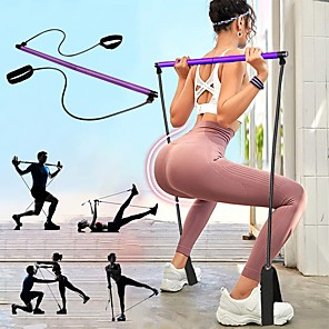 cheap Fitness Gear & Accessories-Pilates Resistance Band and Toning Bar Pilates Exercise Stick Sports Latex Nylon Foam Home Workout Yoga Pilates Portable Adjustable Removable Muscle Building Weight Loss Full Body Toning For Men Women