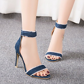 cheap Women's Sandals-Women's Sandals Stiletto Heel Round Toe Denim Summer Dark Blue / Light Blue