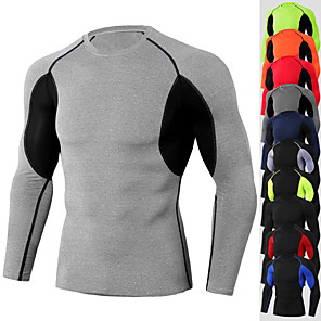 cheap Men's Running Shirts-JACK CORDEE Men's Long Sleeve Compression Shirt Running Shirt Running Base Layer Top Athletic Winter Moisture Wicking Breathable Soft Running Active Training Jogging Sportswear Black / Red White