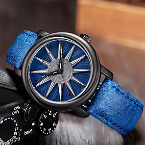 cheap Quartz Watches-Men's Dress Watch Japanese Quartz PU Leather 30 m Water Resistant / Waterproof Day Date Analog Casual Cool - Blue Brown Black One Year Battery Life