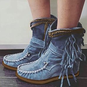 cheap Women's Boots-Women's Boots Comfort Shoes Flat Heel Round Toe PU Mid-Calf Boots Fall & Winter Black / Dark Brown / Green