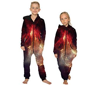 cheap Kigurumi Pajamas-Kid's Kigurumi Pajamas Galaxy Onesie Pajamas Flannelette Purple / Red / Black Cosplay For Boys and Girls Animal Sleepwear Cartoon Festival / Holiday Costumes