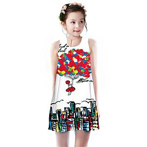 cheap Girls' Dresses-Kids Girls' Basic Cute Rose Rainbow Cartoon Letter Print Sleeveless Knee-length Dress Red