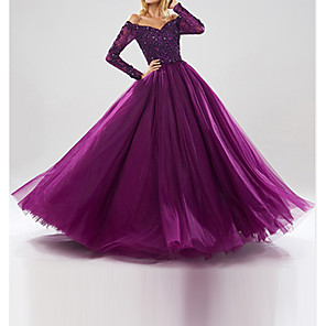 cheap Evening Dresses-Ball Gown Sparkle Purple Quinceanera Prom Dress Off Shoulder Long Sleeve Floor Length Tulle with Beading Sequin 2020
