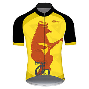 cheap Cycling Jerseys-21Grams Men's Short Sleeve Cycling Jersey Black / Yellow Animal Bear Bike Jersey Top Mountain Bike MTB Road Bike Cycling UV Resistant Breathable Quick Dry Sports Clothing Apparel / Stretchy