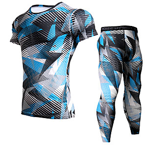 cheap Men's Running Tights & Leggings-JACK CORDEE Men's 2 Piece Activewear Set Workout Outfits Compression Suit Athletic Athleisure Short Sleeve Thermal Warm Moisture Wicking Breathable Gym Workout Running Active Training Jogging