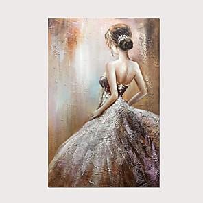 olcso Olajfestmények-100% kézzel festett esküvői ruha lány hátulnézete olajfestmény modern absztrakt függőleges alkotás fal művészet készen áll a kerethez