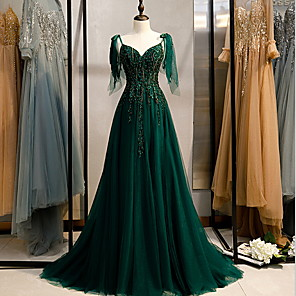 cheap Evening Dresses-A-Line Elegant Engagement Formal Evening Dress Spaghetti Strap Sleeveless Sweep / Brush Train Polyester with Beading Embroidery 2020
