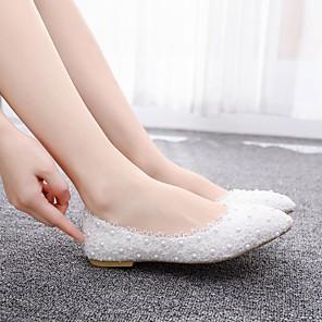 cheap Women's Flats-Women's Flats Flat Heel Pointed Toe Imitation Pearl / Satin Flower Lace / PU Sweet / Minimalism Spring & Summer / Fall & Winter Pink / White / Wedding / Party & Evening