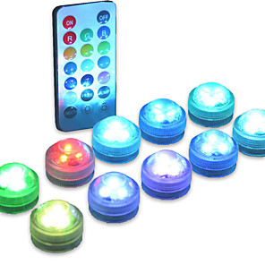 cheap LED Cabinet Lights-10PCS LED Submersible Light Underwater Lamp for Swimming Pool Vase Bowls Aquarium Party Wedding Decor Waterproof Battery Operated RGB(Contain Remote Controller Contain Battery)