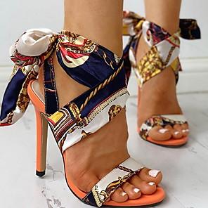 cheap Women's Sandals-Women's Sandals Summer Stiletto Heel Open Toe Daily Chiffon Blue