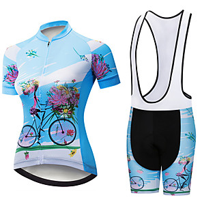 cheap Cycling Jerseys-21Grams Women's Short Sleeve Cycling Jersey with Bib Shorts Black / Blue Floral Botanical Bike Clothing Suit Breathable 3D Pad Quick Dry Ultraviolet Resistant Sweat-wicking Sports Patterned Mountain