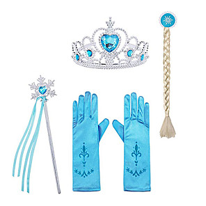 cheap Movie & TV Theme Costumes-Princess Elsa Gloves Outfits Princess Cosplay Jewelry Accessories Girls' Movie Cosplay Halloween Purple / Yellow / Fuchsia Gloves Crown Wand Children's Day Masquerade Rhinestone Fabric Plastic