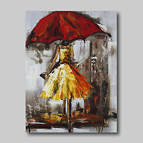 cheap Abstract Paintings-Oil Painting Hand Painted - Abstract Comtemporary Modern Stretched Canvas Girls Umbrella