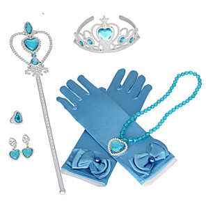cheap Movie & TV Theme Costumes-Princess Elsa Gloves Necklace Outfits Girls' Movie Cosplay Halloween Purple / Yellow / Pink 1 Ring Gloves Crown Children's Day Masquerade Rhinestone Fabric Plastic / Earrings / Wand / Earrings / Wand