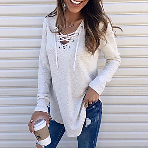 cheap Women's Boots-Women's T-shirt Solid Colored Drawstring Long Sleeve Loose Tops V Neck White Black Blushing Pink