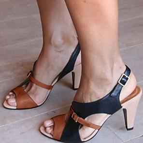cheap Women's Sandals-Women's Sandals Stiletto Heel Open Toe PU Summer Pink / Green / Brown