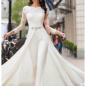 cheap Portable Speakers-Two Piece Jumpsuits A-Line Wedding Dresses Jewel Neck Court Train Polyester Long Sleeve Formal Plus Size with Lace Sashes / Ribbons Crystals 2020
