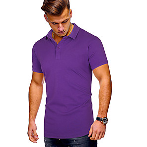 cheap Abstract Paintings-Men's Solid Colored Slim Polo Daily Sports Shirt Collar White / Black / Purple / Red / Yellow / Orange / Green / Royal Blue / Short Sleeve