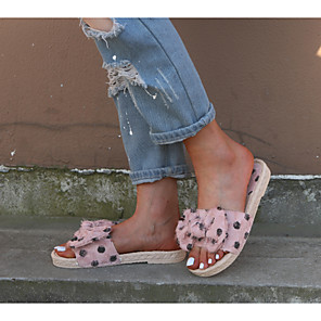 cheap Women's Sandals-Women's Slippers & Flip-Flops 2020 Flat Heel Open Toe Bowknot Microfiber Sweet / Minimalism Spring &  Fall / Spring & Summer Pink / White / Black