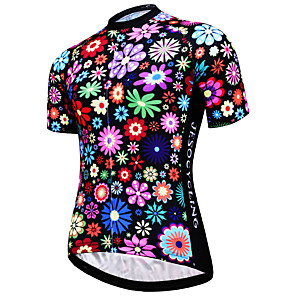cheap Cycling Jerseys-JESOCYCLING Women's Short Sleeve Cycling Jersey Rainbow Floral Botanical Plus Size Bike Jersey Top Mountain Bike MTB Road Bike Cycling Breathable Quick Dry Ultraviolet Resistant Sports Clothing