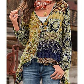 cheap Table Lamps-Women's Shirt Geometric Print Tops Cotton V Neck Blue Red Yellow