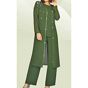 cheap Ballroom Dancewear-Pantsuit / Jumpsuit Mother of the Bride Dress Sparkle & Shine Jewel Neck Floor Length Chiffon Long Sleeve with Sequin 2020