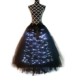 cheap Movie & TV Theme Costumes-Princess Ballet Dancer Skirt Girls' Movie Cosplay A-Line Slip LED White / Black Skirt Halloween Carnival Masquerade Tulle Polyester