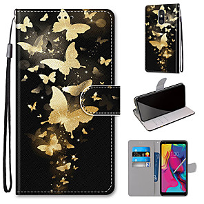 cheap Other Phone Case-Case For Motorola Moto G8 Play / Moto G8 Plus / MOTO E6 plus Wallet / Card Holder / with Stand Full Body Cases Golden Butterfly PU Leather / TPU for MOTO E6 Play / MOTO G7 / MOTO G7 Plus