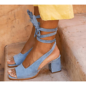 cheap Women's Sandals-Women's Sandals Heel Sandals Summer Chunky Heel Open Toe Daily PU Blue / Brown / Beige