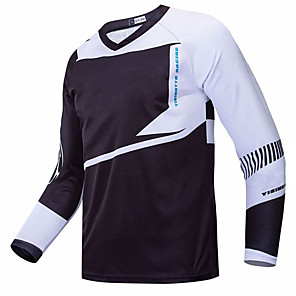 cheap Cycling Jerseys-21Grams Men's Long Sleeve Cycling Jersey Downhill Jersey Dirt Bike Jersey Black / White Geometic Bike Jersey Top Mountain Bike MTB Road Bike Cycling UV Resistant Breathable Quick Dry Sports Clothing