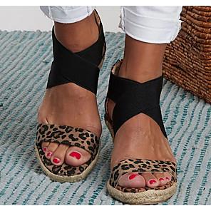 cheap Women's Sandals-Women's Sandals Wedge Sandals Summer Wedge Heel Open Toe Daily PU Brown / Beige / Animal Print
