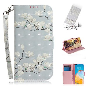 cheap Huawei Case-Case For Huawei Y6 2019/P Smart Plus 2019/Mate 20X Wallet / Card Holder / Flip Full Body Cases Flower PU Leather For Huawei Mate 30 Lite/P40 Pro/P Smart Z/Honor 20 Pro/Nova 6 SE