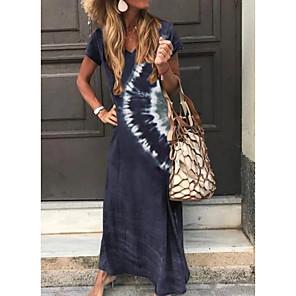cheap Maxi Dresses-Women's A-Line Dress Maxi long Dress - Short Sleeve Tie Dye Print Summer V Neck Classic & Timeless Holiday Vacation Loose 2020 Green Dark Gray Brown Navy Blue S M L XL XXL XXXL