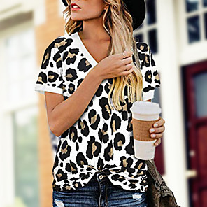 cheap Samsung Case-Women's Leopard T-shirt - Cotton Daily Casual V Neck White / Blue / Red / Yellow / Blushing Pink / Brown