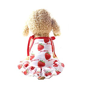 cheap Dog Clothes-Dog Dress Dog Clothes Red Costume Husky Golden Retriever Dalmatian Mesh Fruit Slogan Casual / Daily Cute XS S M L XL XXL
