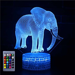 cheap Indoor Wall Lights-3D Illusion Night Light Desk Elephant Lamp with Remote Control & Touch Switch 16 Colors Home Decor Gift for Kids