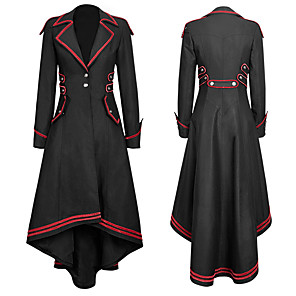 cheap Historical & Vintage Costumes-Plague Doctor Retro Vintage Gothic Steampunk Coat Masquerade Women's Costume Black Vintage Cosplay Event / Party Long Sleeve