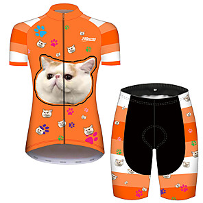 cheap Cycling Jersey & Shorts / Pants Sets-21Grams Women's Short Sleeve Cycling Jersey with Shorts Orange+White Cat Animal Bike Clothing Suit Breathable Quick Dry Ultraviolet Resistant Sweat-wicking Sports Cat Mountain Bike MTB Road Bike