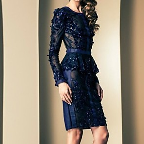 cheap Evening Dresses-Sheath / Column Mother of the Bride Dress Sexy Jewel Neck Knee Length Polyester Long Sleeve with Appliques 2020