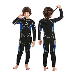cheap Wetsuits, Diving Suits & Rash Guard Shirts-ZCCO Boys' Girls' Full Wetsuit 3mm SCR Neoprene Diving Suit Long Sleeve Back Zip Solid Colored Autumn / Fall Spring Summer / High Elasticity / Kids