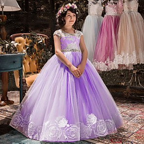 cheap Movie & TV Theme Costumes-Princess Dress Flower Girl Dress Girls' Movie Cosplay A-Line Slip Purple / Pink / Fuchsia Dress Children's Day Masquerade Tulle Rhinestone Cotton