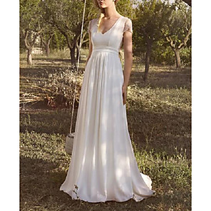 cheap Party Sashes-A-Line Wedding Dresses V Neck Sweep / Brush Train Chiffon Lace Taffeta Short Sleeve Country Plus Size with Lace Buttons 2020
