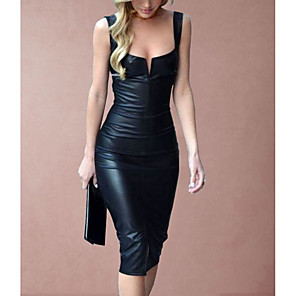 cheap Women's Boots-Women's 2020 Black Dress Sexy Spring & Summer Party Bodycon Sheath Solid Color Camisole Deep U Plastic Drop S M