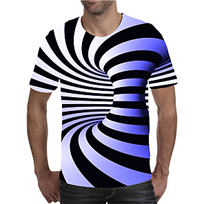 cheap Wedding Decorations-Men's Plus Size T-shirt Geometric 3D Graphic Print Short Sleeve Tops Streetwear Exaggerated Round Neck Blue Purple Red
