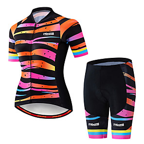 cheap Cycling Jersey & Shorts / Pants Sets-21Grams Women's Short Sleeve Cycling Jersey with Shorts Spandex Polyester Black / Orange Stripes Gradient Bike Clothing Suit Breathable 3D Pad Quick Dry Ultraviolet Resistant Sweat-wicking Sports
