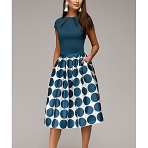 cheap Outdoor IP Network Cameras-Women's Knee Length Dress A-Line Dress - Short Sleeve Polka Dot Geometric Print Ruched Patchwork Print Spring & Summer 1950s Elegant Going out 2020 Black Blue Red S M L XL XXL