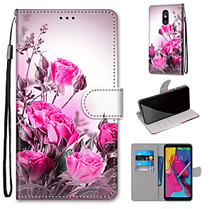 cheap Other Phone Case-Case For Motorola Moto G8 Play / Moto G8 Plus / MOTO E6 plus Wallet / Card Holder / with Stand Full Body Cases Wild Rose PU Leather / TPU for MOTO E6 Play / MOTO G7 / MOTO G7 Plus